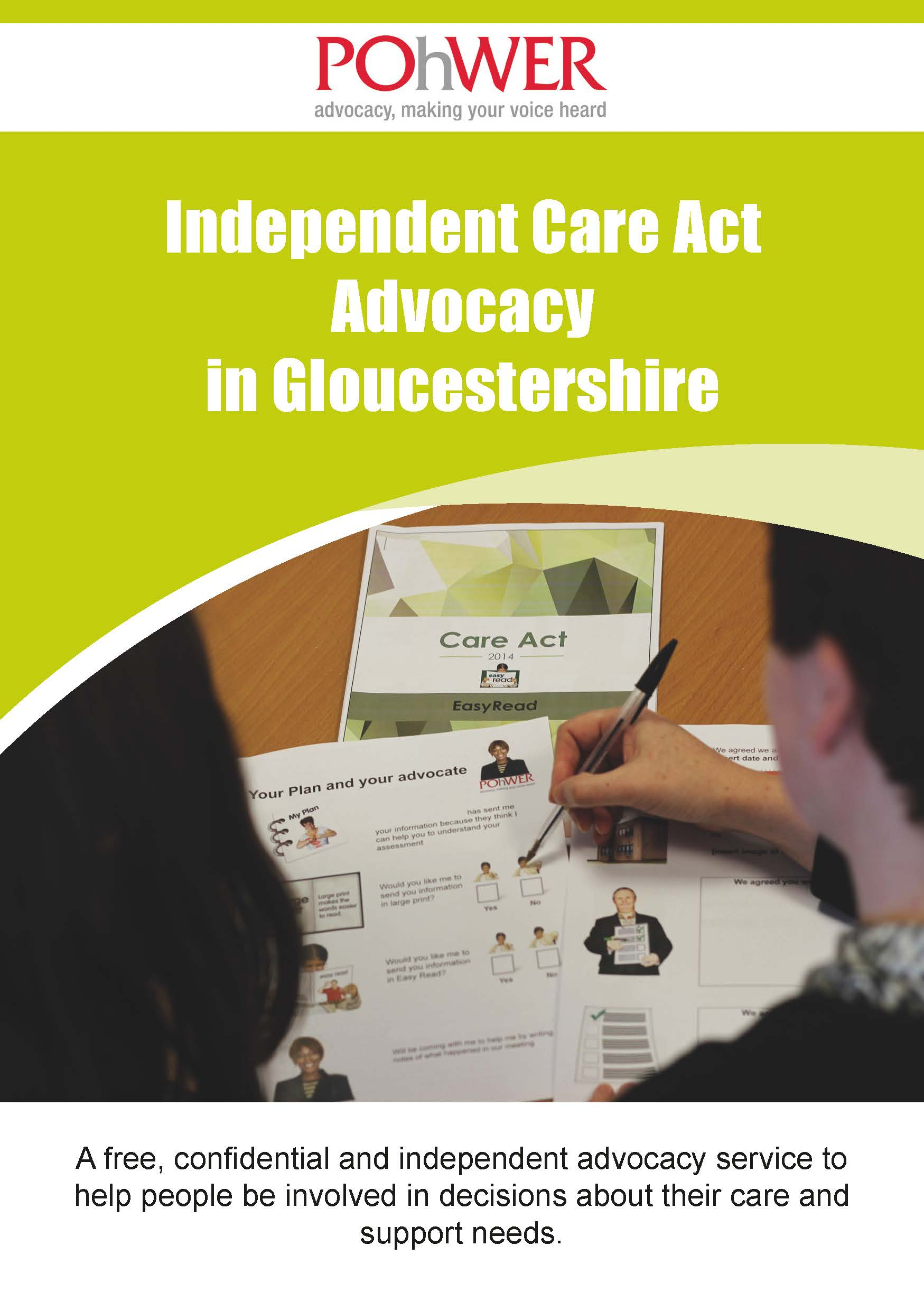 Front cover of Care Act Leaflet