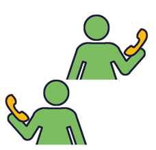 Colourful Icon depicting 2 people speaking on the phone to each other