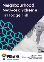 Cover of the Neighbourhood Network scheme (Hodge Hill) Leaflet – it has a dark blue background with a photo of an older woman and a younger woman in conversation