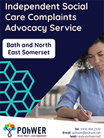 Cover of the Independent Social Care Complaints Advocacy Service - it has a dark blue background and a photo of a women in a light blue blouse writing