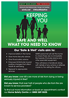 Cover of Keeping you safe and well what you need to know information leaflet from West Midlands Fire Service - a green background with an image of the silhouette of a family
