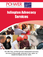 The front cover of the Islington Integrated Advocacy Services leaflet.