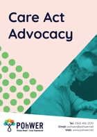 Front cover of the Care Act Advocacy Leaflet. This leaflet is pale pink with a photo of a woman helping a man with a learning disability. Together they are looking at a tablet computer screen.