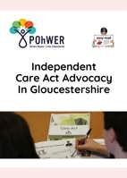 Cover of the Gloucestershire Care Act Easy Read leaflet - it has a white background and a photo of a man writing