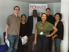 Five of our POhWER London volunteers standing with our London Volunteer Coordinator, smiling