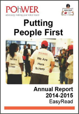Front page of EasyRead POhWER annual report 2014-2015
