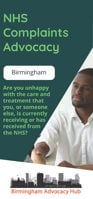 Cover of the Birmingham Advocacy Hub NHS Complaints Advocacy Leaflet – it has a dark green background and a photo of a man in a white shirt shaking hands with another person who is out of view