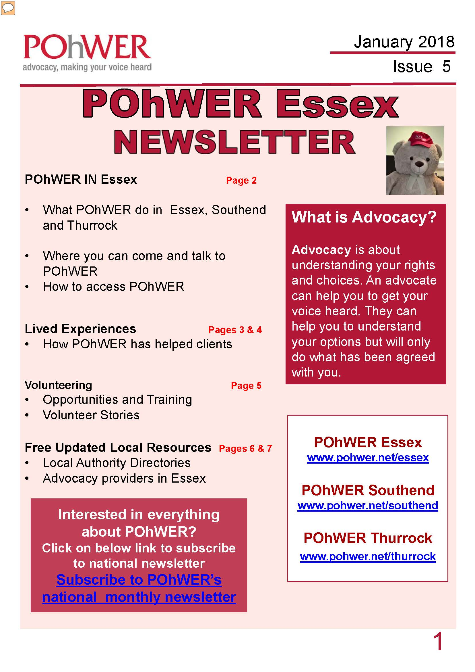Essex Newsletter Issue 5 cover