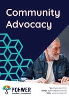 Cover of the Community Advocacy Leaflet – it has a dark blue background and a photo of a middle-aged man with a beard talking to someone else who is out of view