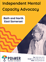 Cover of the Independent Mental Capacity Advocacy Leaflet - it has a yellow background and a photo of a woman speaking