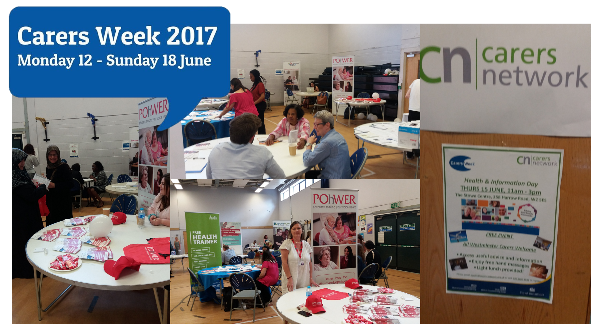 Carers week collage - pictures of people at the Westminster carers network event
