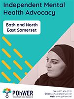 Cover of the Independent Mental Health Advocacy Leaflet - it has a blue background and a photo of a woman listening