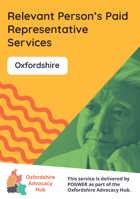 Cover of the Oxfordshire Advocacy Hub Relevant Person's Paid Representative Services leaflet – it has a yellow background and a photo of a man looking deep in thought