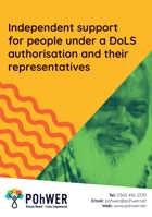 Cover of the Independent Support for People under a DoLS Authorisation and Their Representatives leaflet – it has a yellow background and a photo of a smiling elderly man with a large beard