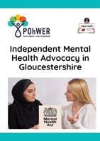 Cover of the Gloucestershire IMHA Easy Read leaflet - it has a white background and a photo of two women in conversation