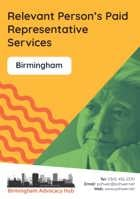Cover of the Birmingham Advocacy Hub Relevant Person's Paid Representative Services leaflet – it has a yellow background and a photo of a man looking deep in thought