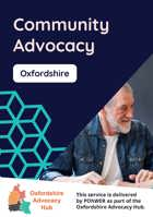 Cover of the Oxfordshire Advocacy Hub Community Advocacy Leaflet – it has a dark blue background and a photo of a middle-aged man with a beard talking to someone else who is out of view