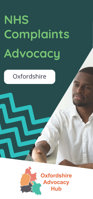 Cover of the Oxfordshire Advocacy Hub NHS Complaints Advocacy Leaflet – it has a dark green background and a photo of a man in a white shirt shaking hands with another person who is out of view