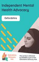 Cover of the Oxfordshire Advocacy Hub Independent Mental Health Advocacy Leaflet - it has a blue background and a photo of a woman listening