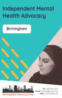 Cover of the Birmingham Advocacy Hub Independent Mental Health Advocacy Leaflet - it has a blue background and a photo of a woman listening