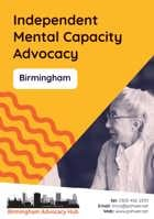 Cover of the Birmingham Advocacy Hub Independent Mental Capacity Advocacy Leaflet - it has a yellow background and a photo of a woman speaking