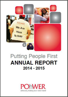 Front page of POhWER annual report 2014-2015