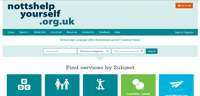 Preview of the Nottinghamshire Help Yourself website homepage