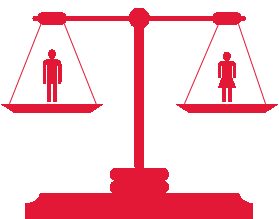 set of scales icon with a man on one side and a woman ion the other