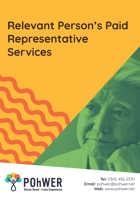 Cover of the Relevant Person's Paid Representative Services leaflet – it has a yellow background and a photo of a man looking deep in thought