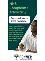 Cover of the NHS Complaints Advocacy Leaflet – it has a dark green background and a photo of a man in a white shirt shaking hands with another person who is out of view