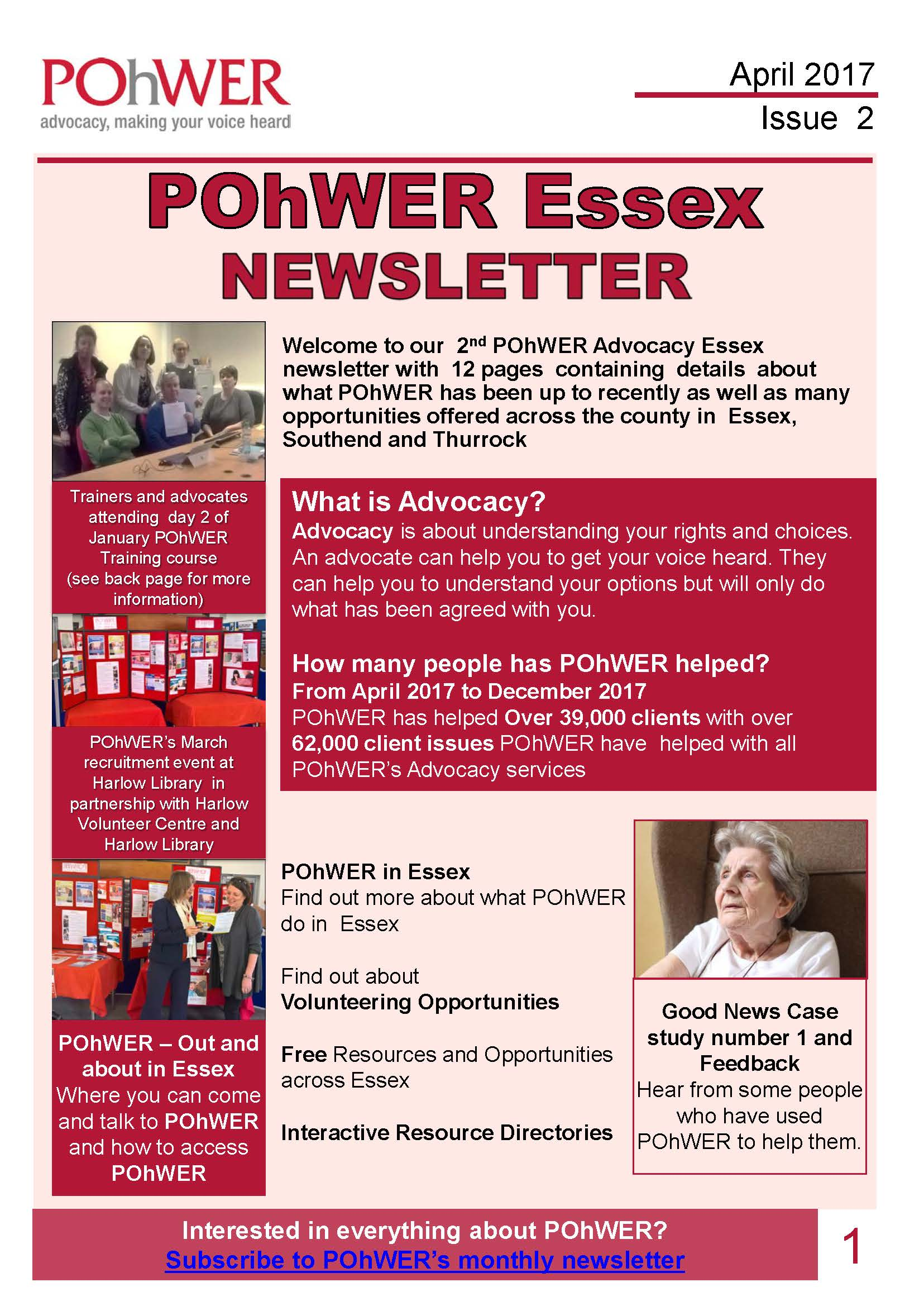 The front cover of the POhWER Newsletter 2.