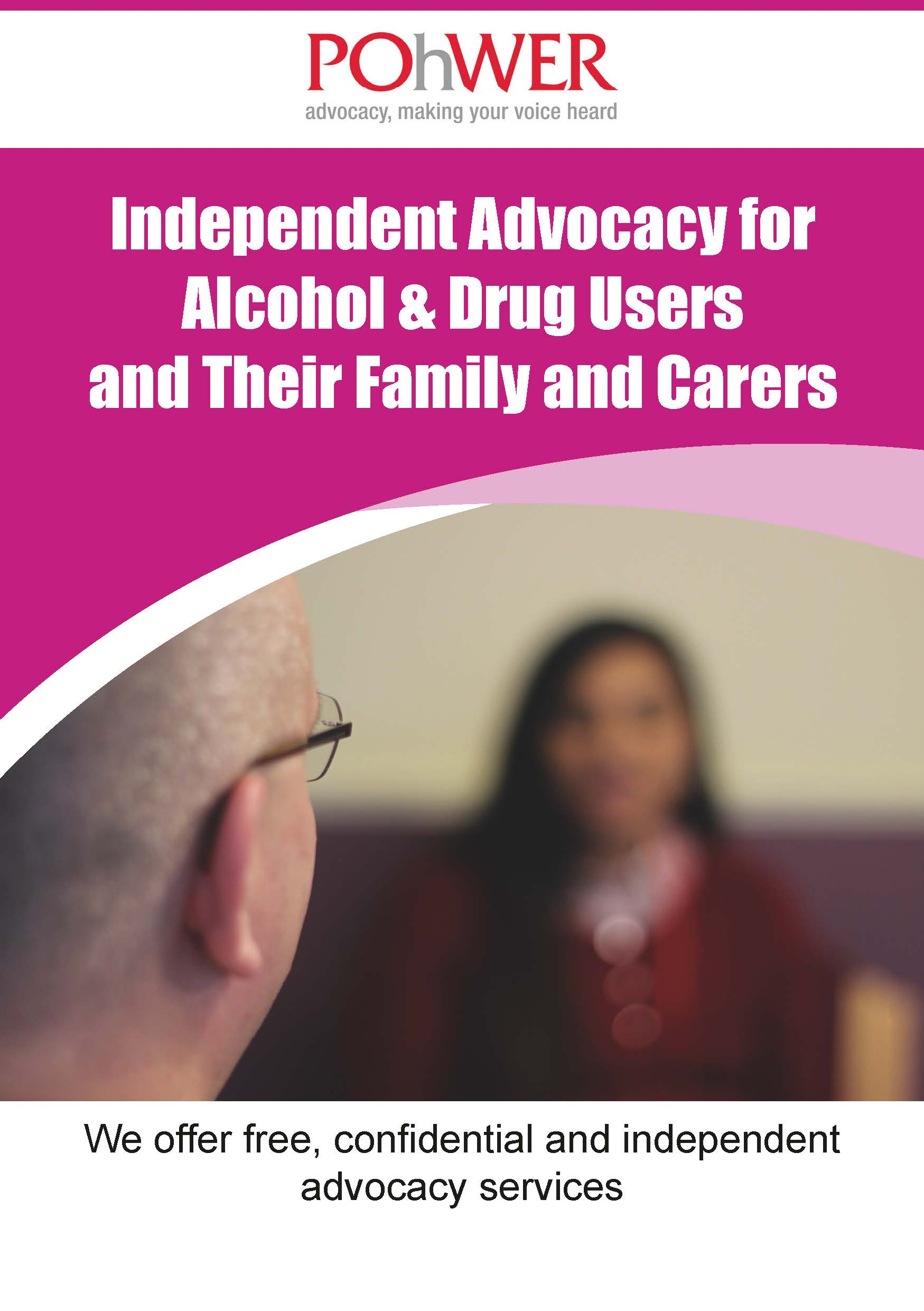 Independent Advocacy for Alcohol & Drug Users and Their Family and Carers leaflet cover