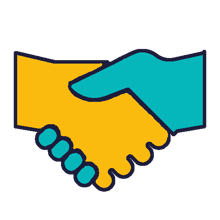 colourful Icon depicting a handshake