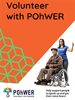 Cover of the POhWER Volunteering leaflet – it has an orange background with a photo of a young woman standing closely behind a man who is in a wheelchair