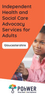 Cover of the Gloucestershire Independent Advocacy leaflet - it has an orange background and a photo of a young woman reaching out to touch someone who is out of view