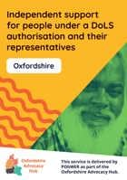 Cover of the Oxfordshire Advocacy Hub Independent Support for People under a DoLS Authorisation and Their Representatives leaflet – it has a yellow background and a photo of a smiling elderly man with a large beard