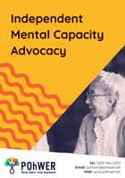 Front Cover of the Independent Mental Capacity  Advocacy Leaflet. this leaflet is yellow and features a photo of an older woman speaking.