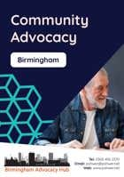 Cover of the Birmingham Advocacy Hub Community Advocacy Leaflet – it has a dark blue background and a photo of a middle-aged man with a beard talking to someone else who is out of view