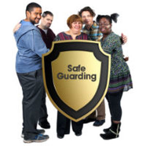A safeguarding logo with lots of people standing behind it together.