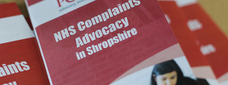 A picture of the POhWER Shropshire NHS Complaints leaflet.